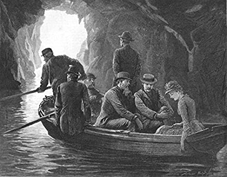 Salida Cuevas fabricado Agua lenta movimiento Remos Impel Barco Luz de día – 1885
