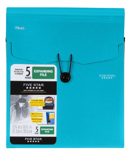Five Star 5-Pocket Expanding Vertical File, 12.25 x 10.25 Inches, Teal (72502)