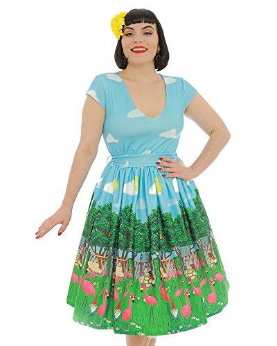 Lindy Bop Doreen' Flamingo Garden Print Swing Dress - XS