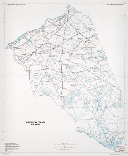 1986 Map Burlington County, New Jersey - Size: 20x24 - Ready to Frame - Burlington County | New - Burlington Ma Shopping