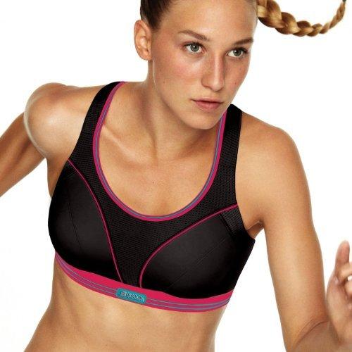 Shock Absorber Women's Ultimate Run Sports Bra, Black/Purple, Size 30F by Shock Absorber