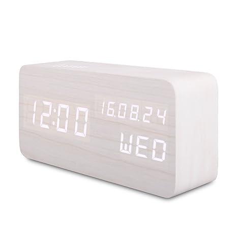 Reloj Alarma Despertador Digital de Madera, Silencioso LED Pantalla Brillo Ajustable / Control de Sonido, Reloj de Mesa Indicador Calendario Tiempo y ...