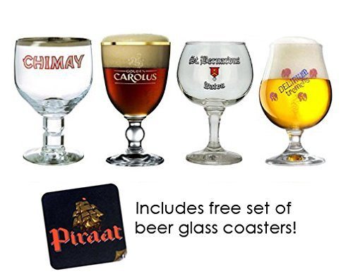 (Belgian Beer Glass Chalice Sampler Set 4-piece )