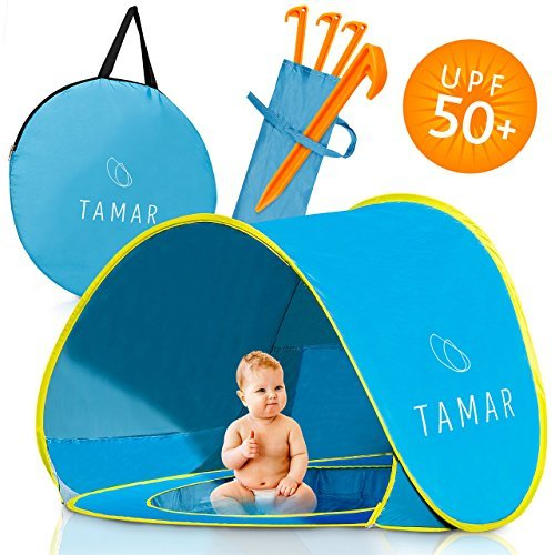 Tamar Baby Beach Tent : Toddlers and Tots Blue Pop-Up Sun Shelter with mini Pool and Detachable Shade, Lightweight, 50 SPF UV Protection with Carry - Beach Baby Beach