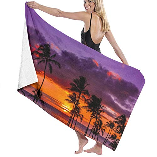 - NiYoung Bath Towels, Newport Beach Sunset Coconut Tree Red Purple Wash Cloths 100% Polyester Cotton Hand Towel High Absorbency Fitness Towel Quick Dry Bath Sheets for Home Hotel Spa (32x51 inch)