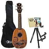 Luna Guitars GRPN-UKE-TATTOO-P-KIT Tattoo Pineapple Soprano Ukulele with Uke Stand, Tuner, Lesson, and Bag