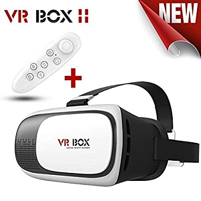"""Virtual Tech VR Box Virtual Reality Headset 3D Glasses Adjust Cardboard VR BOX For 3.5~6.0"""" Smartphones iPhone 6/6 plus Samsung Galaxy IOS Android Cellphones (Black+White) With FREE REMOTE($9.99)"""