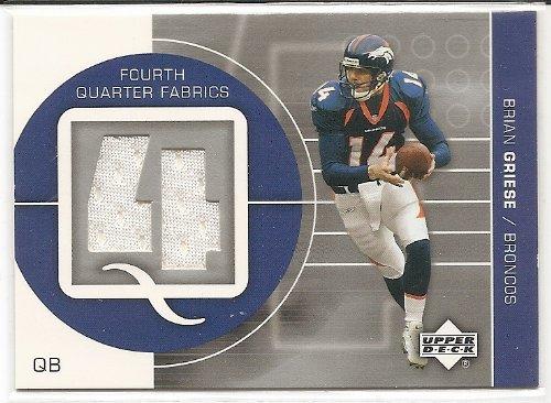 Brian Griese 2002 Upper Deck Fourth Quarter Fabrics Game Worn Jersey Insert Card ()