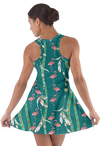 Womens Flamingo Racerback Summer Flamingo Tribal CowCow CowCow Cotton Summer Dress Womens Green 55p1Br