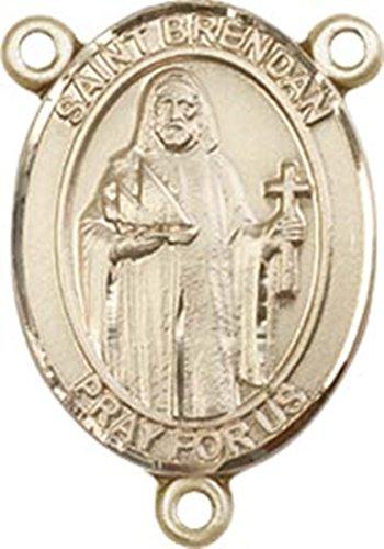 - 14K Gold Filled Saint Brendan the Navigator Rosary Centerpiece Medal, 3/4 Inch