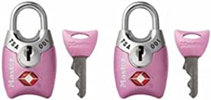 Master Lock 4689T Keyed TSA Approved Luggage Lock, 2 Pack, Pink