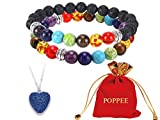 poppee The Chakras Bangle Natural Stone Budhi Seed Mala Handmade Tibetan Buddhist Prayer Beads Bracelet Bangle for Yoga Men and Women with Gift Box (set of 2 7 chakras (2))