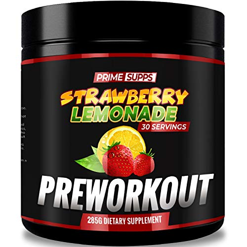 Prime Supps Pre Workout Powder - MetaHuman Preworkout Drink for Men and Women - 30 Servings - Strawberry Lemonade (Best Female Pre Workout)