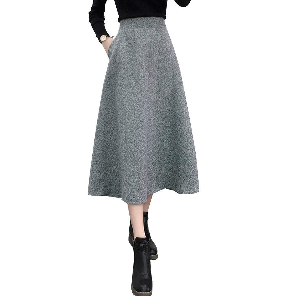Sobrisah Women's Thicken Plain Pleated Skirt Umbrella Skirt Maxi Woolen Skirt Long Winter Skirt