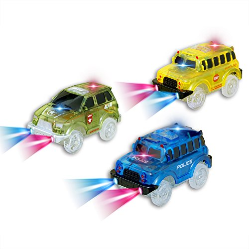 Car Tracks, (3 Pack) Green Military Jeep, Blue Police Bus and Yellow School Bus , with 5 LED Lights, Compatible with Most Tracks,Best Gift for Boys and (Blue Police Car)