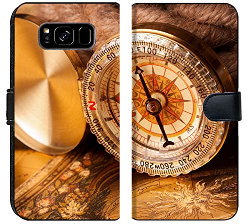 Samsung Galaxy S8 Plus Flip Fabric Wallet Case Old map Compass and Navigation Equipment Image 7122258 Customized Tablemats Stain Resis