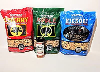 Western Variery Smoking Chips Free Head Country Original Championship Seasoning Bundle (3) - Apple, Hickory, Cherry from Western Wood Products