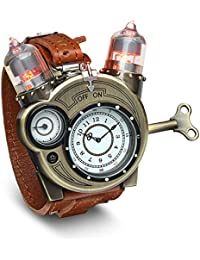 Steampunk-Styled Tesla Analog Watch Weathered-Brass Look...