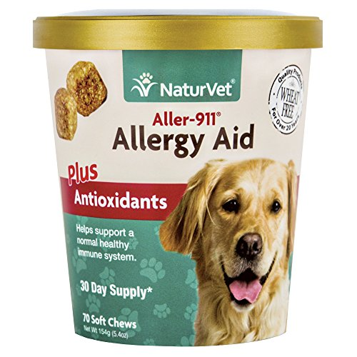 NaturVet - Aller-911 Allergy Aid Plus Antioxidants - 70 Soft Chews - Supports Immune System, Skin Moisture & Respiratory Health - Enhanced With Omegas, DHA & EPA - For Dogs & Cats ()