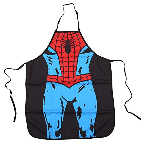 FASHION ALICE Spider man Apron Heroic Figure Role Play Apron,Couples Apron Kitchen Aprons Funny Personality Sexy Originality Cooking Aprons Christmas Gift,Including key ring bottle opener