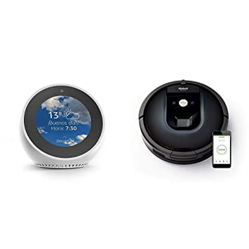 Echo Spot blanco + iRobot Roomba 981 - Robot aspirador para alfombras, potencia de succión