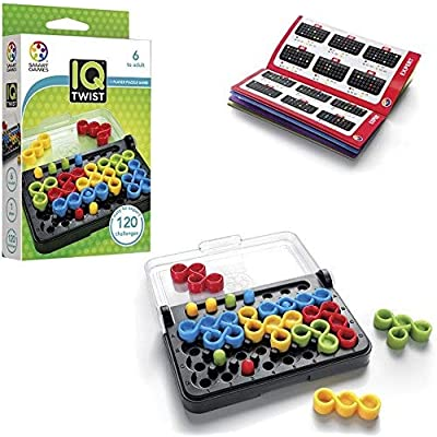 SmartGames IQ Twist, a Travel Game for Kids and Adults, a Cognitive Skill-Building Brain Game - Brain Teaser for Ages 6 & Up, 120 Challenges in Travel-Friendly Case: Toys & Games