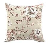 LivebyCare Multi-Sized Flower Printed Cushion Cover Linen Cotton Cover Throw Pillow Case Sham Pattern Zipper Pillowslip Pillowcase Teen Boy Girl Kid Children Bedroom