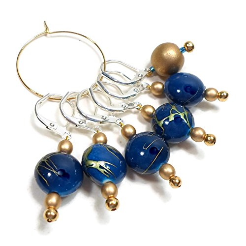 Marker Knitting Beads - Removable Locking Stitch Markers for Crochet and Knitting Blue Gold Line