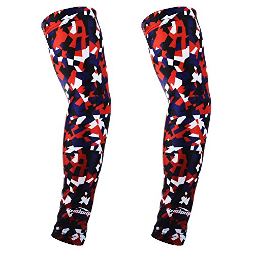 Football America Adult Football (COOLOMG 1 Pair Youth Adult Compression Arm Sleeves UV Protection for Basketball Football Baseball and Other Activities, America Flag 3D Red Blue Small)