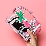 DWE Small Make Up Bag, Waterproof Flamingo Cosmetic Storage Pouch Travel Makeup Bag Pencil Case For Women Girls (Clear Flamingo B)