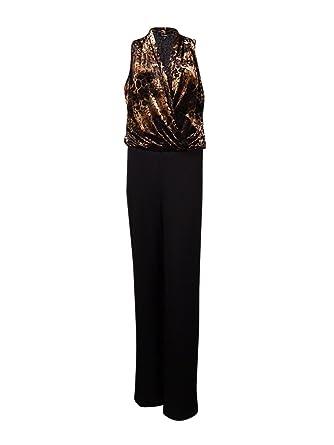 2ca33e5c5420 Amazon.com  Karen Kane Women s Surplice Devore Jersey Jumpsuit (S ...