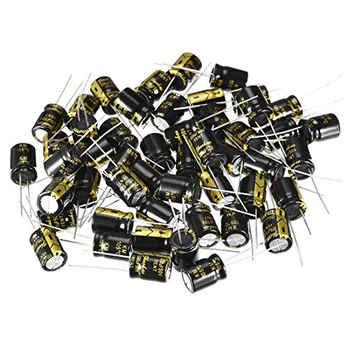 - uxcell Aluminum Radial Electrolytic Capacitor with 220uF 50V 105 Celsius Life 2000H 10 x 13 mm Black 50pcs