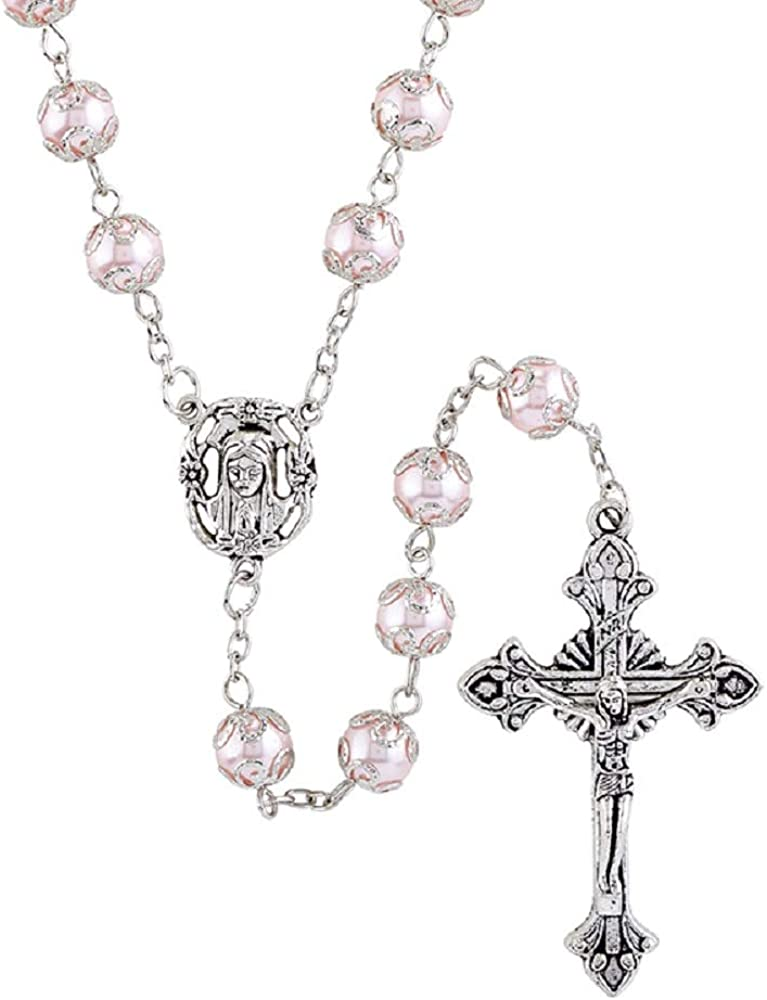 8mm Faux Pearl Rosary Beads Catholic Prayer Beads Gift Necklace holy Communion