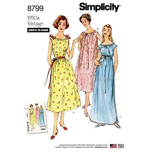 Simplicity Pattern 8799 Misses' Vintage Nightgowns, Size XS-S-M-L-XL ()