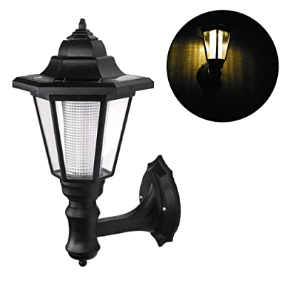 Houkiper Wall Lamp - Waterproof Solar LED Hexagonal Light Lamp 2W Exterior Sconce Lantern Light Auto ON/Off at Night for Outdoor Landscape Garden Fence Yard (Warm)