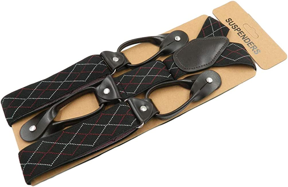 SupSuspen Men 1.4Argyle Y-Back 6 Leather Buttons End Elastic Suspenders Braces