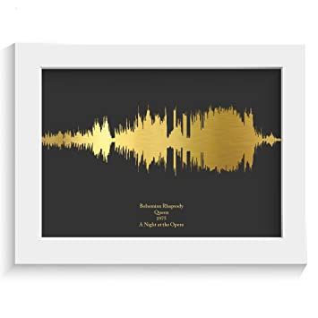 New Home Wall Art Gold Foil Music Lyrics Sound Waves Gift Print Any