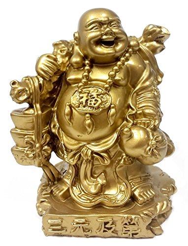 - Bellaa 24276 Laughing Buddha Statues Golden Lucky Feng Shui 6