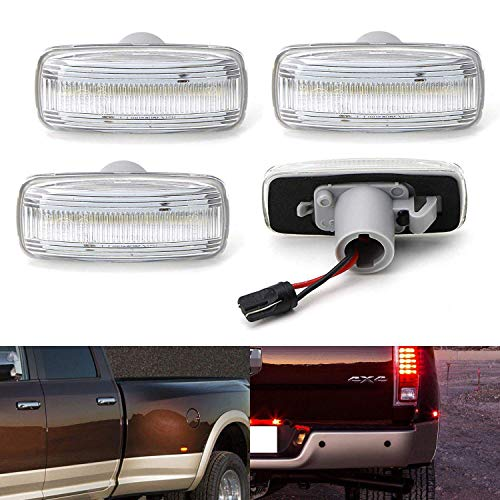 iJDMTOY Clear Lens Amber/Red Full LED Trunk Bed Marker Lights Set For 2010-18 Dodge RAM 2500HD 3500HD Truck Double Wheel Side Fenders, Powered by Total 48 - Set Marker Lens