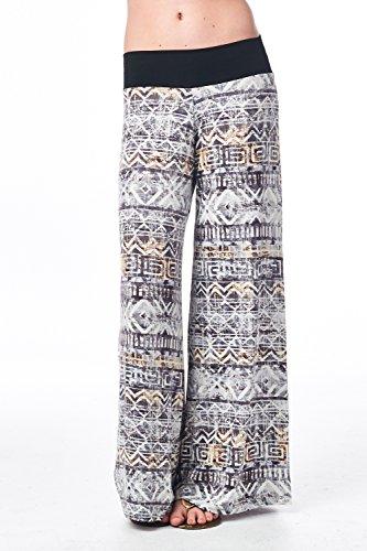 Frumos Womens Wider Waist Band Tie Dye Long Leg Tie Dye Palazzo Pants Taupe Black 3XL