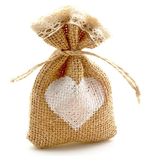 Summer-Ray 50pcs Mini Burlap Favor Bags with Crochet Lace, Drawstrings and Painted Heart (3.5