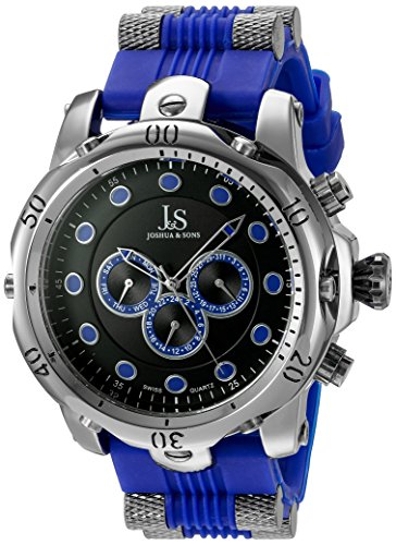 Joshua & Sons Men's JS71BU Silver Multifunction Swiss Quartz Watch with Black and Blue Dial and Bracelet
