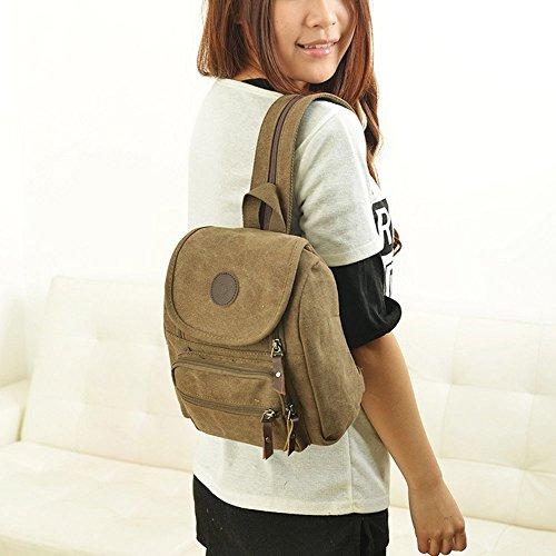 Hiigoo Multi Zipper Pocket Small Cross Body Shoulder Bag Backpack (Khaki) by Hiigoo (Image #5)