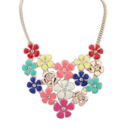 Beach Edt Spray (The Starry Night Colorful Elegant Delicate Small Piecemeal Flower Gold Plated Necklace for Womens Girls)