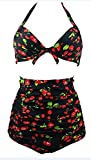 HOTAPEI Women Cherry Print High Waist Halter Bikini Swimsuit XXXL
