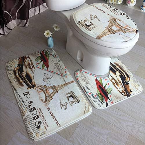 Qinqin666 3 Pieza Set de baño Rug Set Bath Mat + Mat Pedestal + O ...