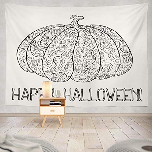 Hdmly Halloween Pumpkin Tapestry Wall Hanging Decor, Decorative Wall Tapestry Halloween Coloring with Pumpkin Happy 60