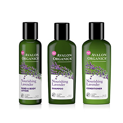 Avalon Organics Hand & Body Lotion, Shampoo, and Conditioner Nourishing Lavender Travel Bundle, 2 oz each by Avalon Organics