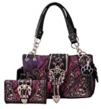 HW Collection Western Camo Camouflage Rhinestone Buckle Concealed Carry Handbag and Crossbody Wallet (Purple)