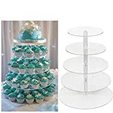 Aceshin New Round Crystal Clear Acrylic Cupcake Stand Wedding Display Cake Tower 5 Tier